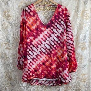 Worthington colorful Tie Dye open sleeve blouse 2x